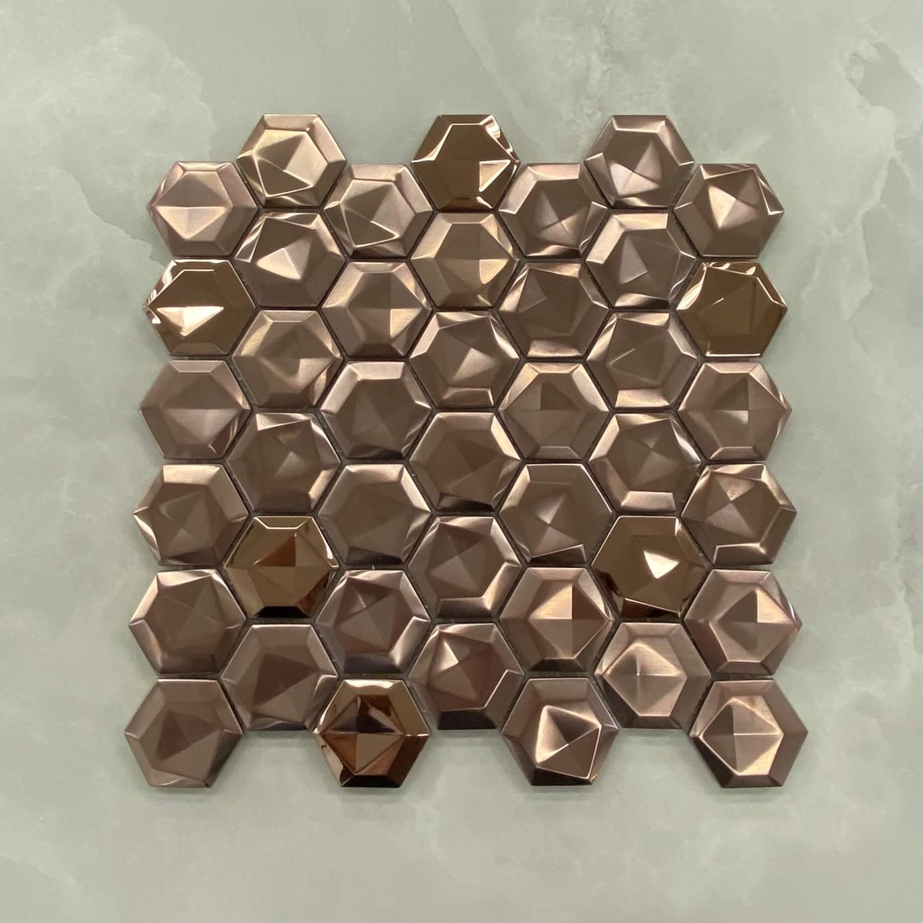 298x300mm 3D Effect Hexagon Stainless Steel Rose Gold Mosaic 7574