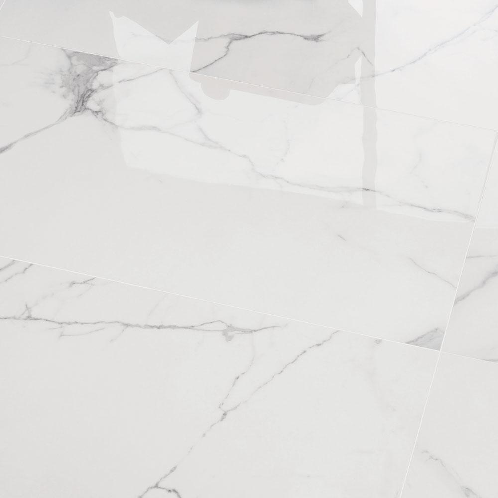 600x1200mm Statuario Marble Look Polished Italian Porcelain Tile (#5624)