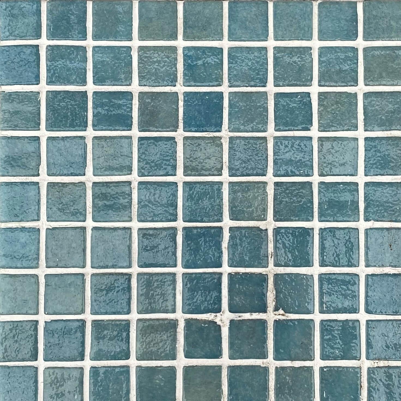 Verde Spanish Polyurethane Cord Glass Pool Mosaic 25x25mm 7533