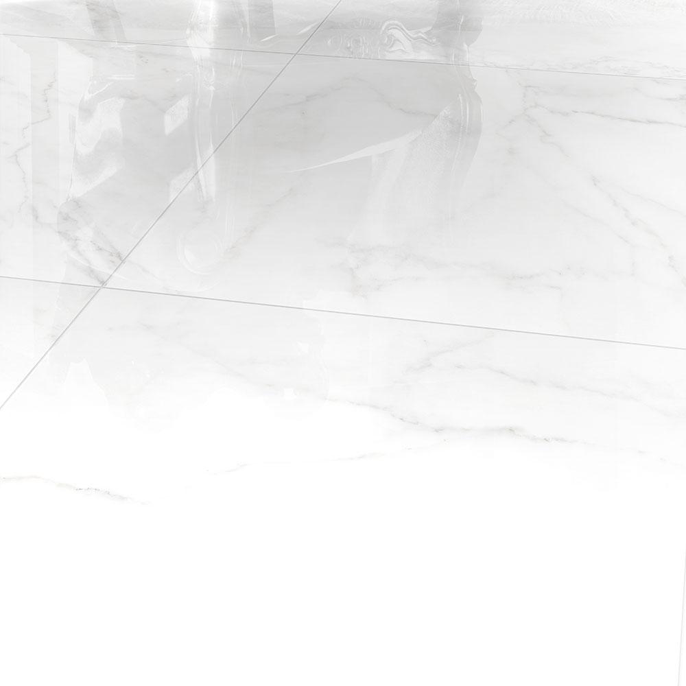 600x600mm Verona Carrara White and Black Vein Polished Glazed Porcelain Tile (#5215)