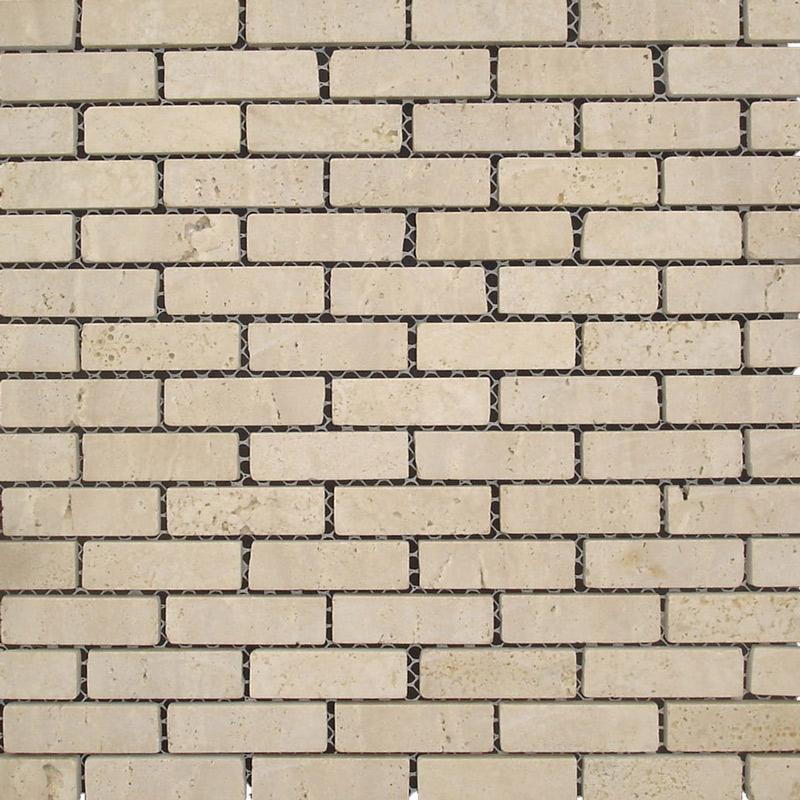 White Travertine Mosaic Tile (300x310mm Mosaic Sheet, 15x50mm pieces) (#7211)