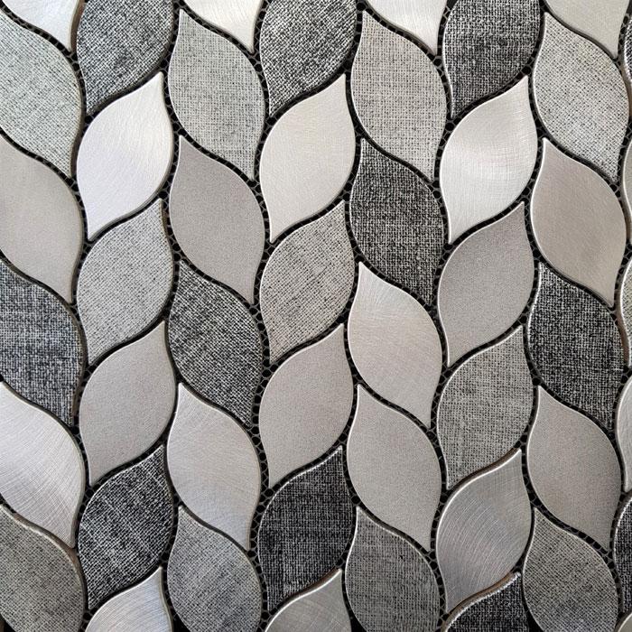 290x350mm Leaf Light & Dark Grey Aluminium Mosaic 7425