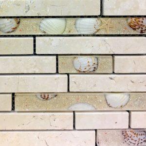 Beige Marble Strips Mosaic Tile