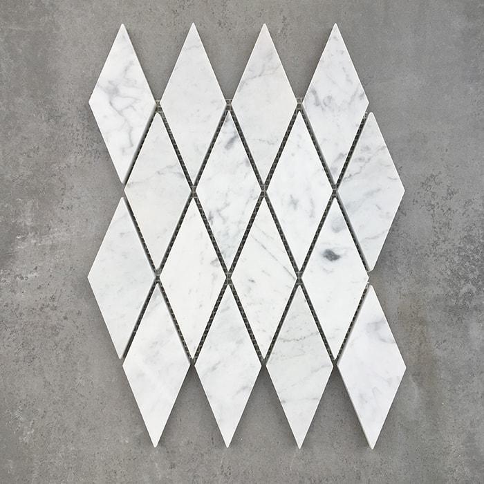 Bianco Carrara Diamond Honed Mosaic Sheet 7364