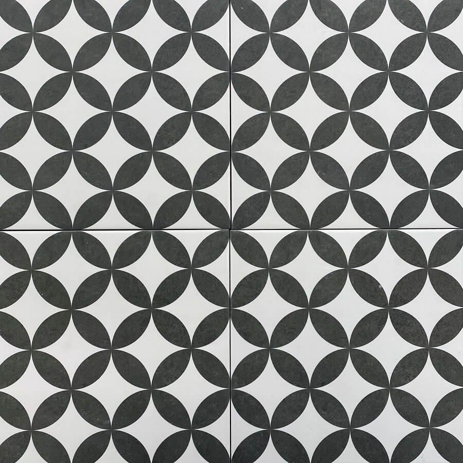 Black & White Geometric Matt Spanish Porcelain Encaustic Look Tile 3462