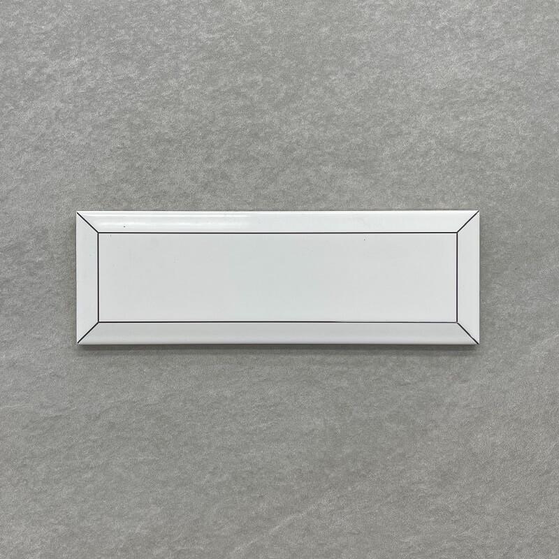 Black Frame White Gloss Bevelled Spanish Ceramic Subway Wall Tile 4243