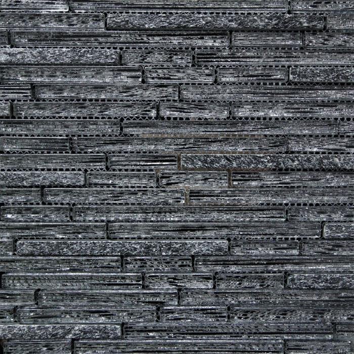 Black Glass and Stone Brick Pattern Mosaic Tile (290x300mm)(#7098)