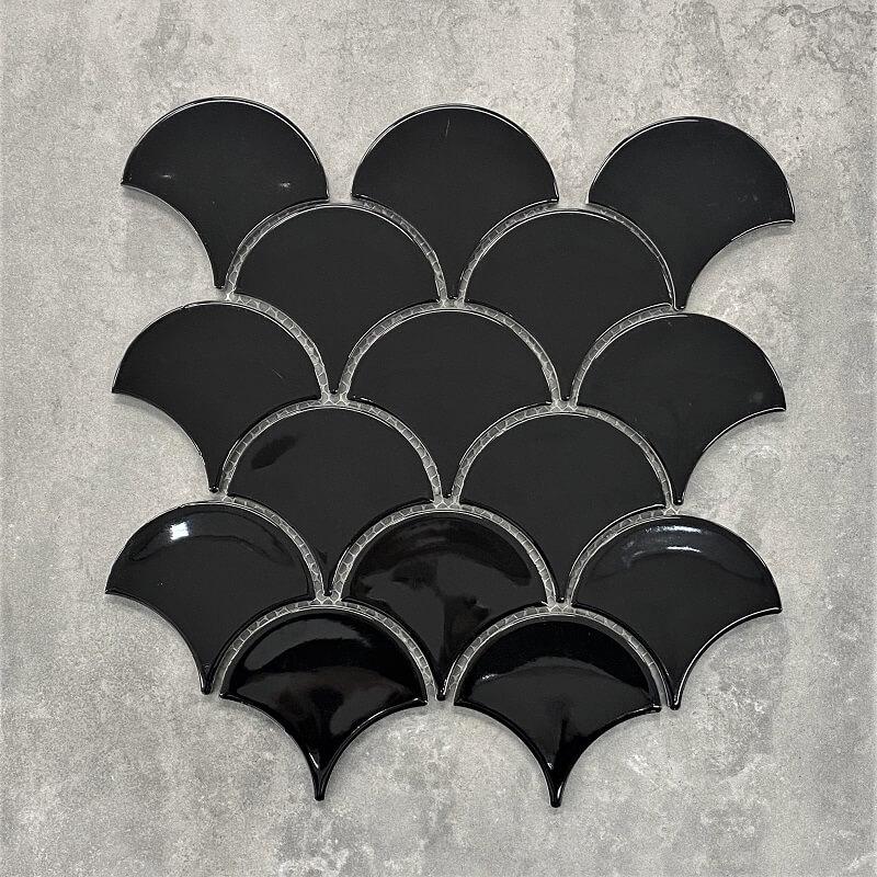 259x273mm Fan Fish Scale Gloss Black Porcelain Mosaic 7475