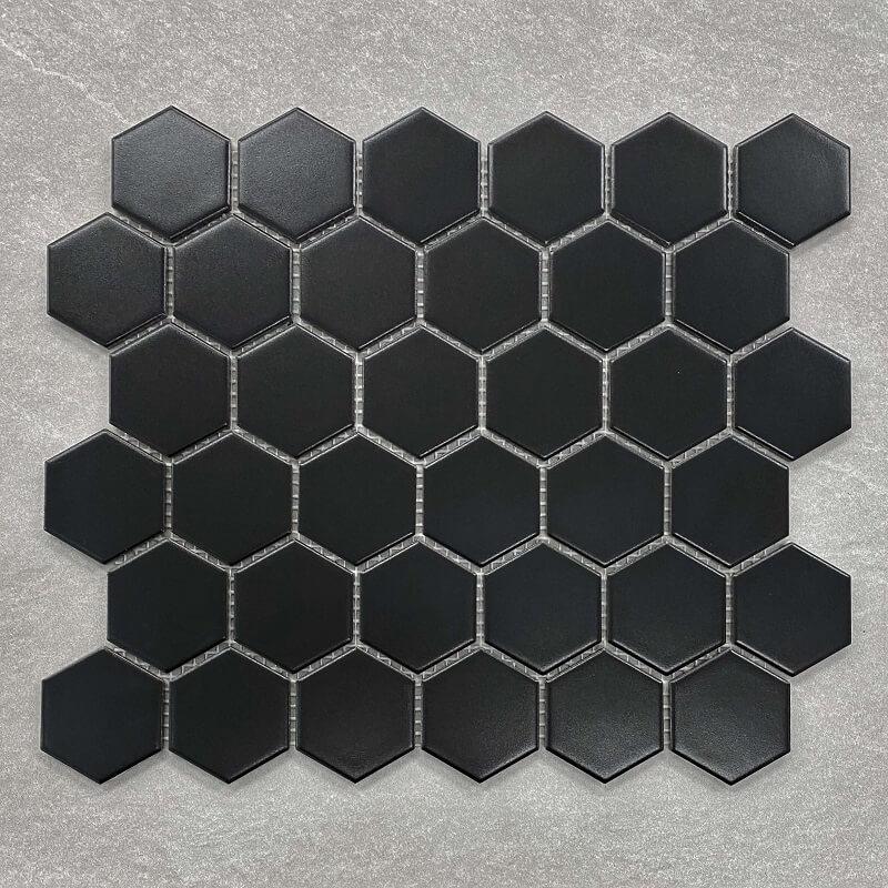 Hexagon Black Matt Porcelain Mosaic 7581