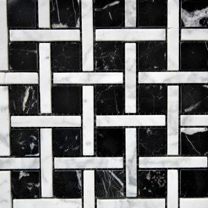 Black White Polished Marble Mosaic Tile