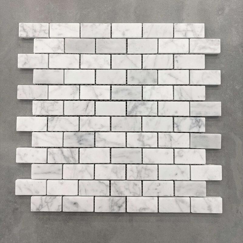 300x300mm Brick Pattern Honed Carrara Marble Mosaic 7584