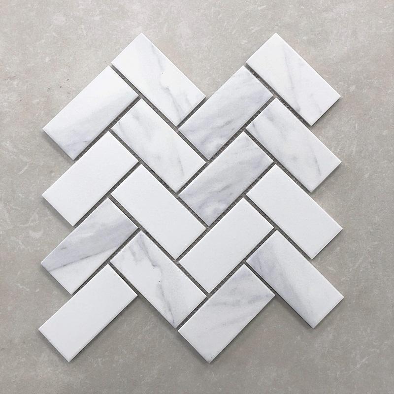 Herringbone Carrara Matt Glazed Porcelain Mosaic 7463