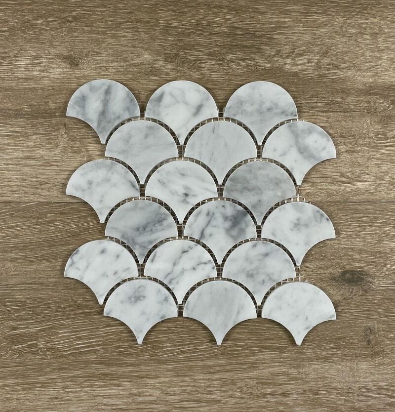 Fan Fish Scale Honed Carrara 66x78mm Marble Mosaic 7661
