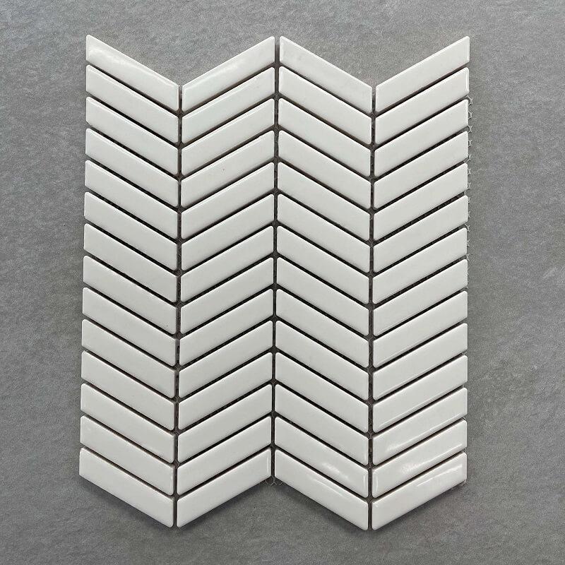 Chevron Matt Cream Eggshell Ceramic  Mosaic 70x8mm 0081