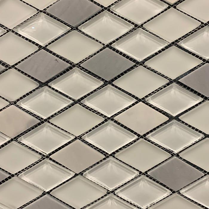 Diamond Marble White Glass Mosaic 298x328mm7442