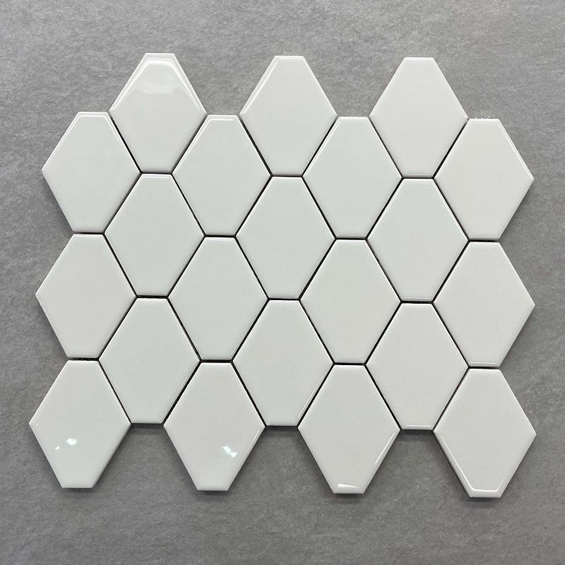 Elongated Hex Gloss Off White Mosaic Sheet 70x88mm 0117
