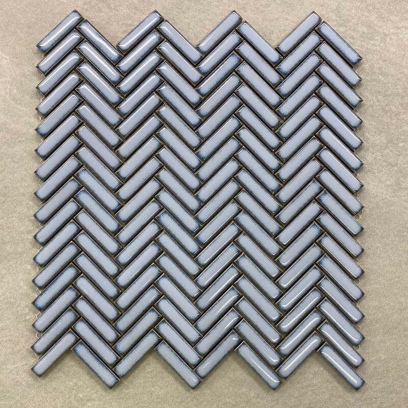 Herringbone Baby Blue Porcelain Mosaic 7434