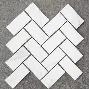 Herringbone Carrara Matt Glazed Porcelain Mosaic