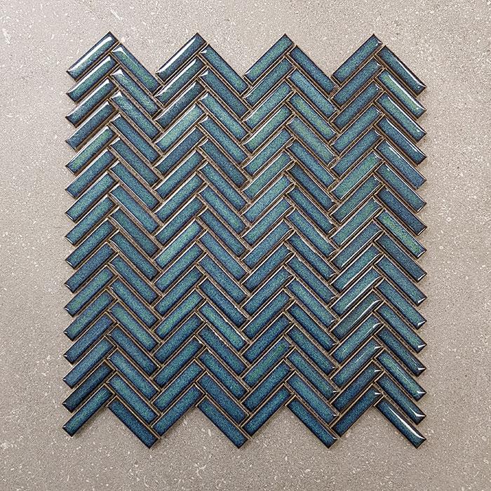 306x299mm Herringbone Green Porcelain Mosaic 7435