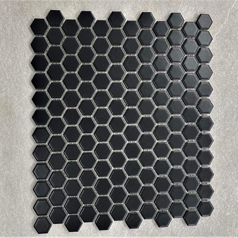 Hexagon Black Matt Porcelain Mosaic Sheet 7582
