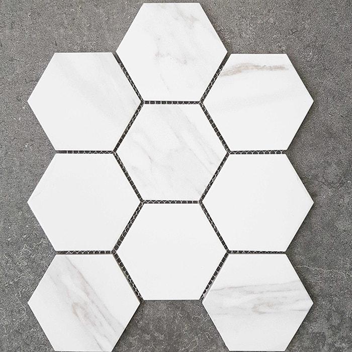 Hexagon Carrara Glazed Porcelain Mosaic (295x256mm)(#7359)