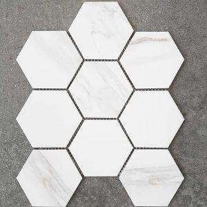 Hexagon Carrara Glazed Porcelain Mosaic