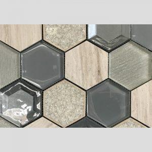 Hexagon Mixed Antracite Stone Mosaic