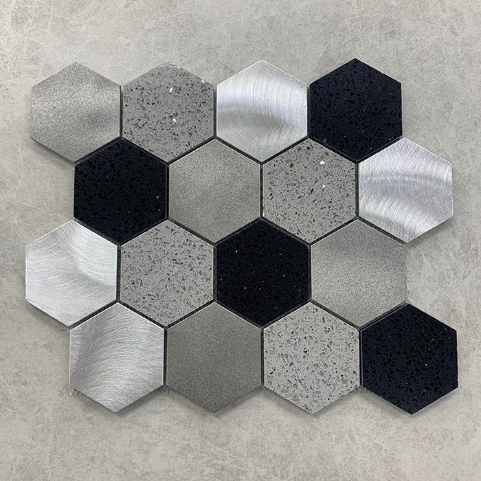 Hexagon Mixed Tozzato Porcelain Aluminium Mosaic 280x298mm 7444