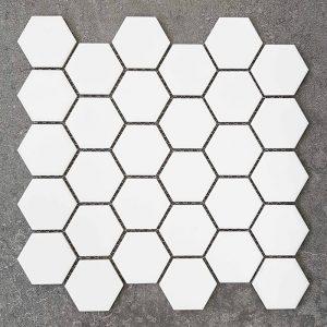 Hexagon White Matt Porcelain Mosaic Tile