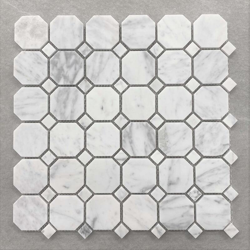 298x298mm Octagon Honed Carrara Marble 48mm Mosaic 7580