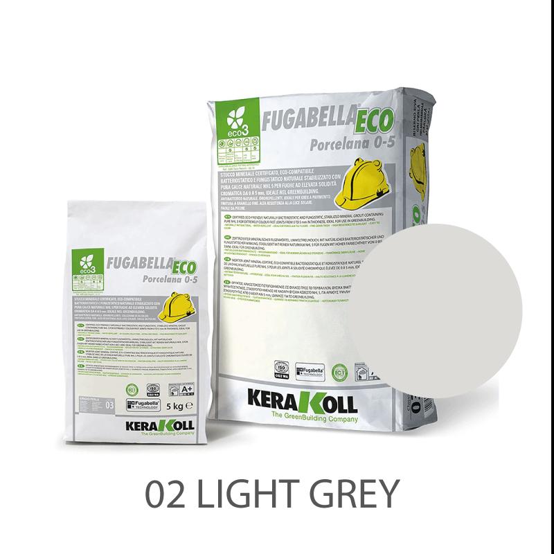 5kg Kerakoll Fugabella Eco Porcelana Grout No. 02 Light Grey 9771