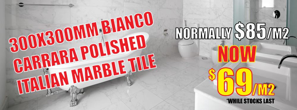 Bianco Carrara Polished Italian Marble Tile