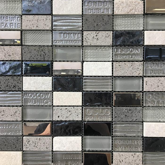 Mixed Glass Stone Mosaic Sheet 300x300mm 7358