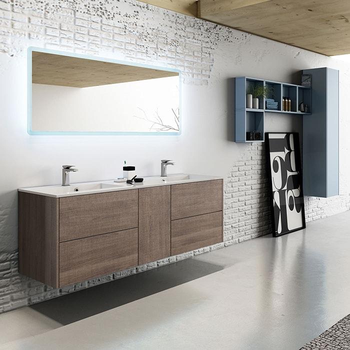 1500(w)x500(d)x540(h)mm Noce Wall Hung Italian Vanity – Double Basins (#9284)