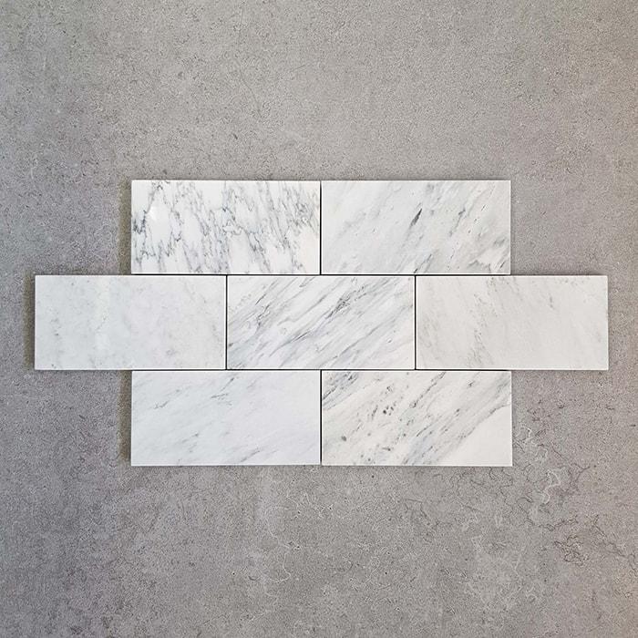Oriental White Polished Marble Natural Stone Subway Tile (#8509)