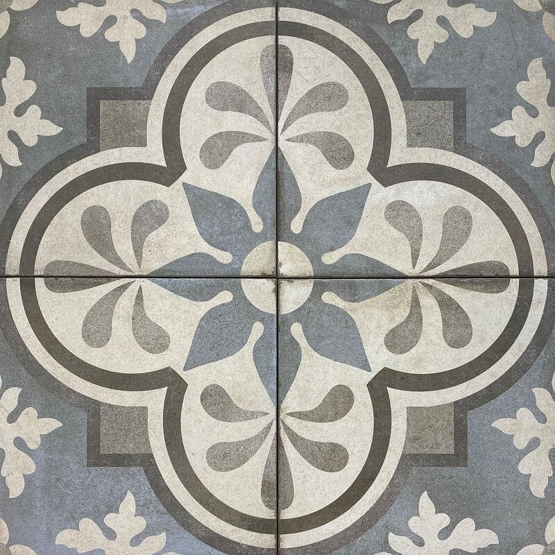Palermo Vintage Blue Encaustic Look Italian Matt Non Rectified Porcelain Tile 3418