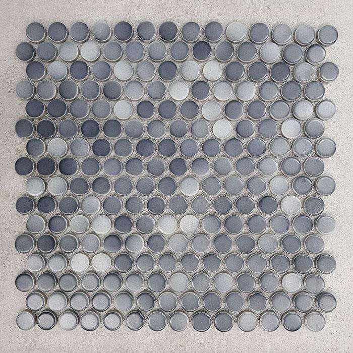 295x295mm Penny Round Denim Grey Porcelain Mosaic 7436