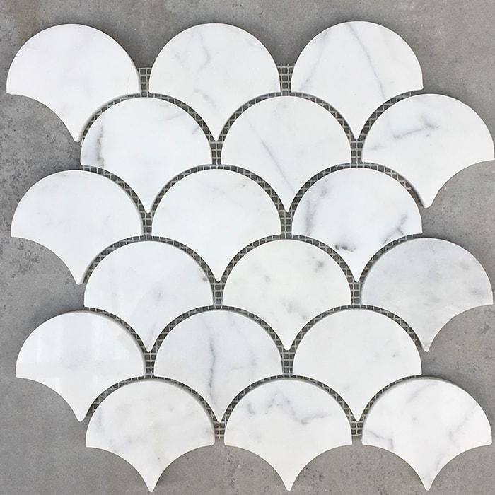 Only 13 Sheet Polished Bianco Carrara Fan Marble Mosaic