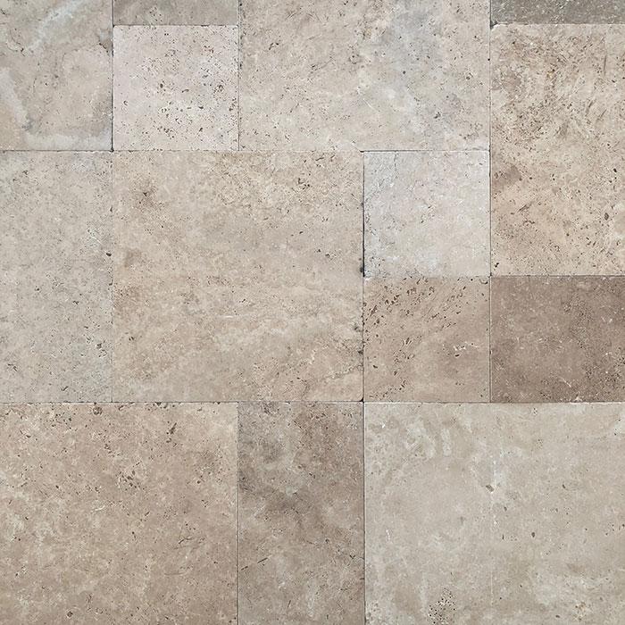 Premium Light French Pattern Tumbled Travertine Tile 8715