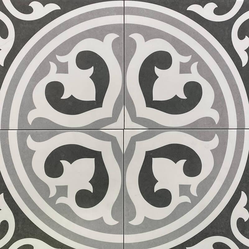 Black & White Retro Matt Spanish Porcelain Wall & Floor Tile 3464