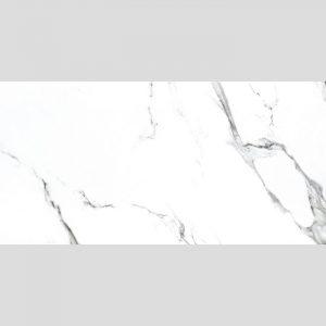 Statuario Marble Look Glazed Rectified Polished Porcelain Floor Tile