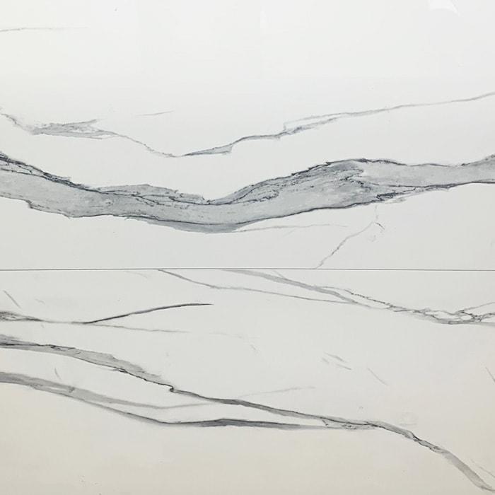 Statuario White Marble Look Rectified Polished Italian Porcelain Tile 6971