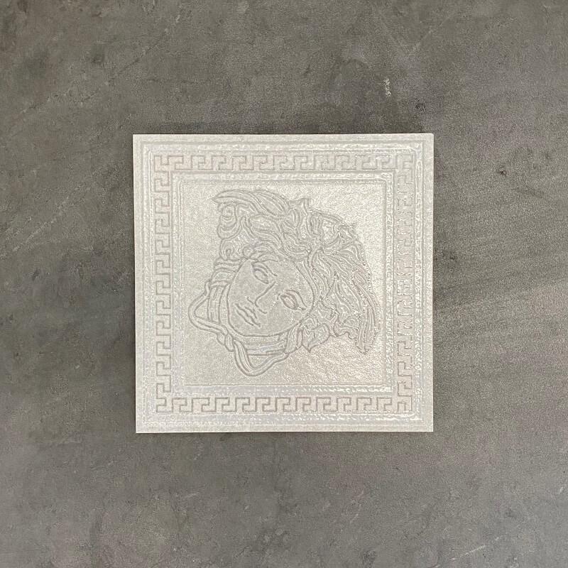 Versace Ceramics Greek Tozzetto Bianco Porcelain Decor Tile 6664