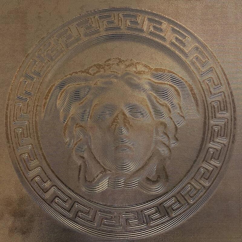 Versace Ceramics Eterno Gold 3D Medusa Porcelain Decor Tile 3530