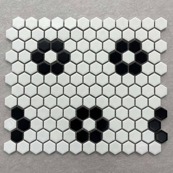 Vintage Daisy Black & White Ceramic Mosaic 7606