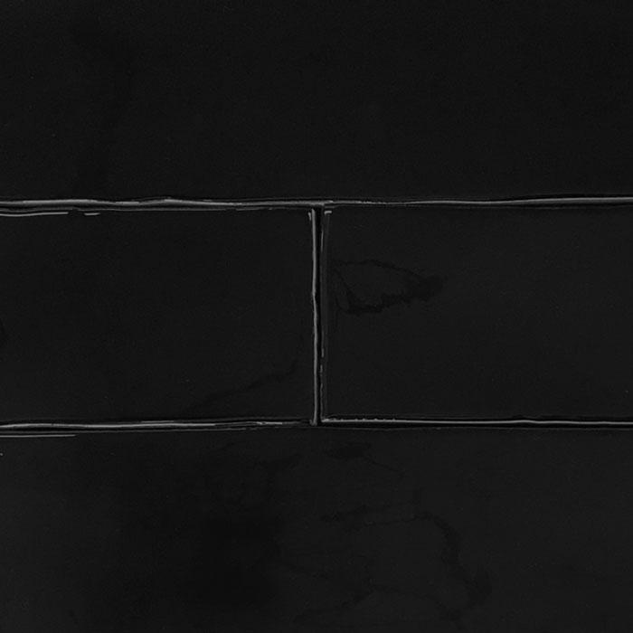 75x300mm Wavy Black Gloss Ceramic Subway Wall Tile (#4126)