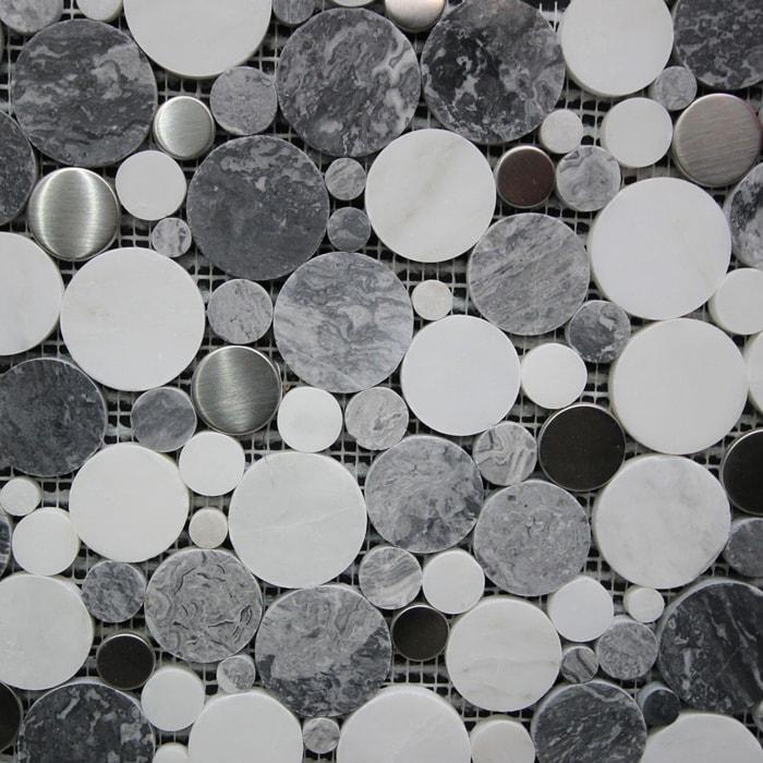 305x305mm White & Grey Marble With Brushed Aluminium Mosaic 7075