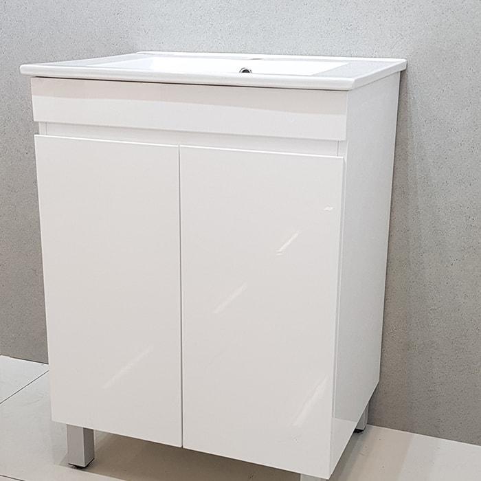 600(w)x460(d)x820(h)mm White Gloss Freestanding Vanity Single Basin + 2 Doors (#9647)
