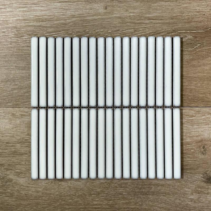 White KitKat Gloss Porcelain Mosaic 7650