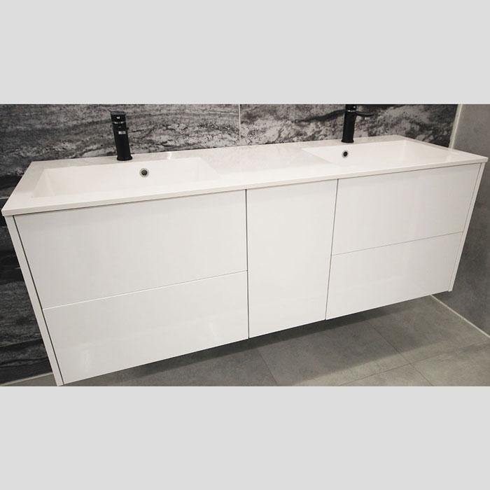 1500(w)x500(d)x540(h)mm White Wall Hung Italian Vanity – Double Basins (#9282)